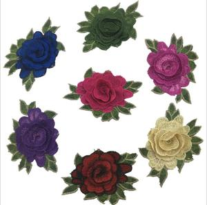 customized low price embroidery patch rose,good quality embroidery rose patches rose embroidery patch on sale D75