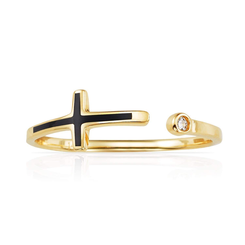 Jewel Tie Mens Solid 14K White Gold Cross Crucifix Wedding Band Cubic Zirconia CZ
