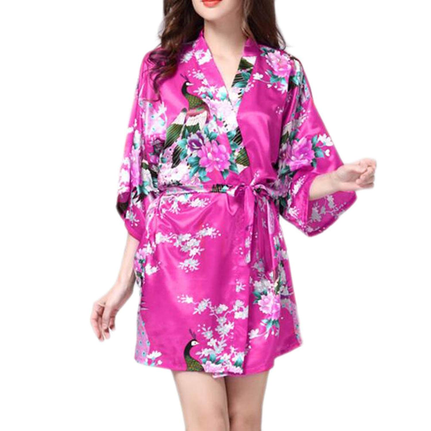 6376369b1a Get Quotations · Charming Women Bathrobe Blossoms Peacock Kimono Silk Robes  Gown-Rose Red