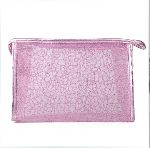 2014 Fashion Woman Cosmetic Bag Transparent Lace Makeup Bags Travel Storage Women Handbag Shiny Organizer Multi Magic Color