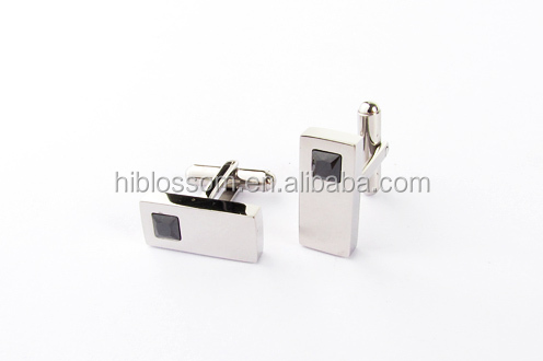 Europe unique design stainless steel cuff links black diamond cufflinks