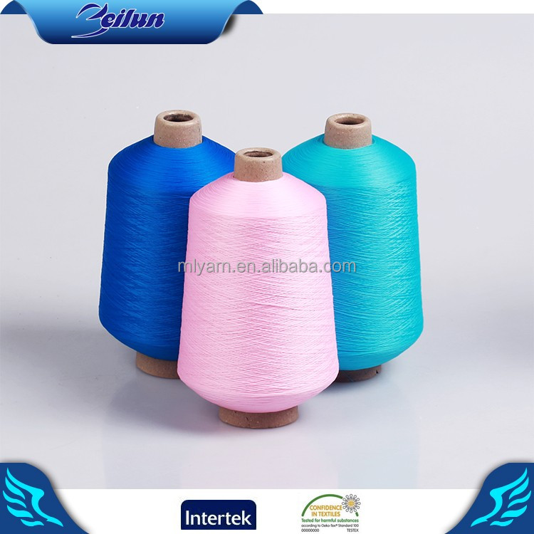 Colorful good evevness Dyed 100 Polyester Spun Yarn for hosiery and knitting