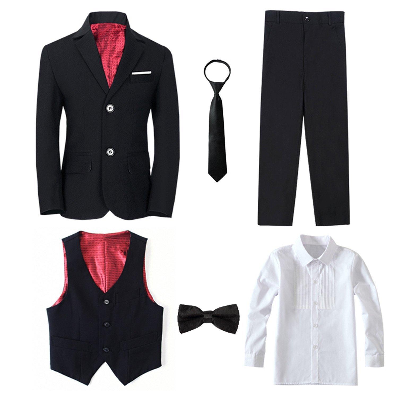 1b09de64b5a Get Quotations · Yanlu Boy s Tuxedos Toddler Formal Suits Set Kids Blue  Black Slim Fit Suit for Weddings