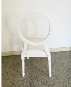 Clear Acrylic Round Back White Aluminum Wedding Dining Restaurant Chair