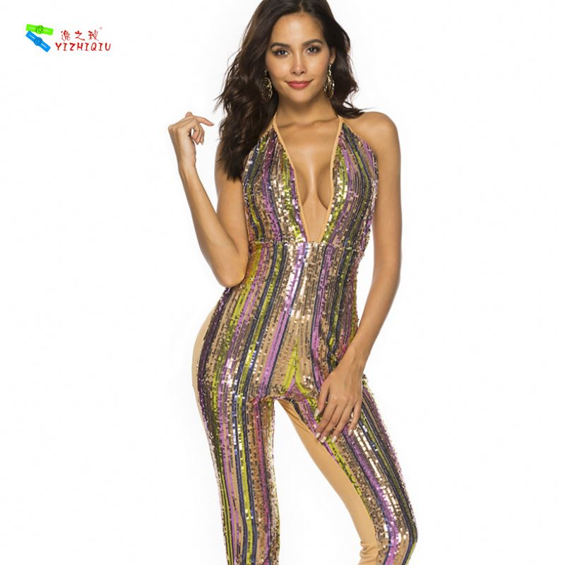 YIZHIQIU Colorful Striped Sequin Straps Bandage Bodycon Sexy Jumpsuit Woman Dress