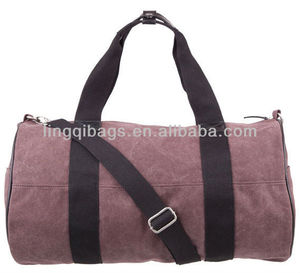 Fashion cotton canvas barrel gym bag for ladies