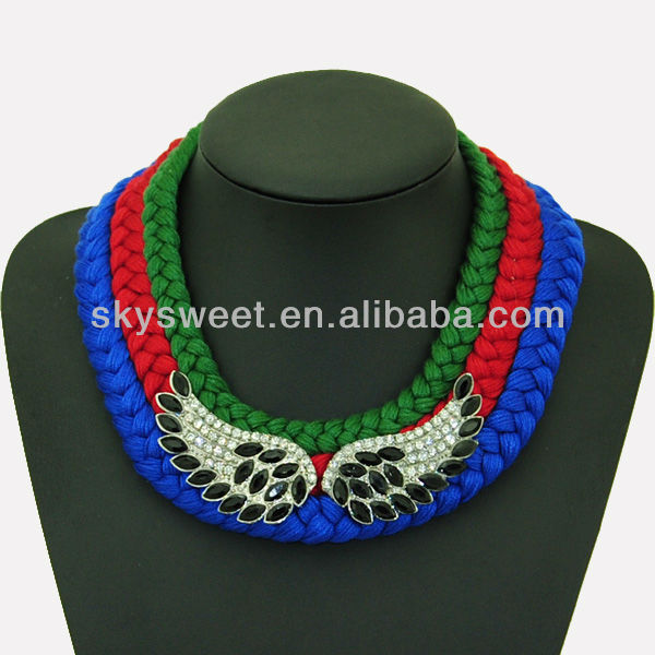 Warm 2014 Gallant Jewelry Beaded Wings Necklaces Supplier (SWTN823-1)