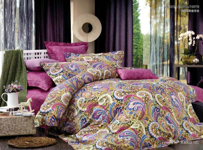 Egyptian Cotton Pink Paisley Satin Luxury Bedding