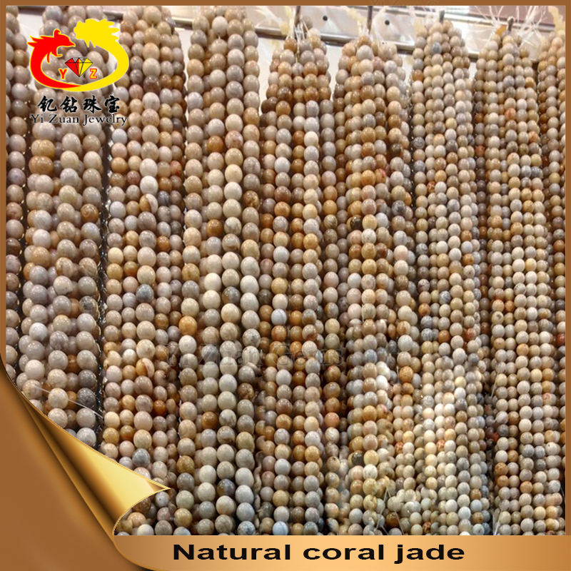 Mass production round cabochon coral jade beads