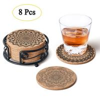 Natural Cork Coasters with Metal Holder-set of 8