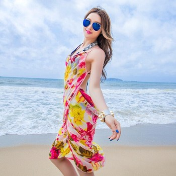 Multi-wear Sexy Floral Bikini Swimwear Cover Up Beach Dress