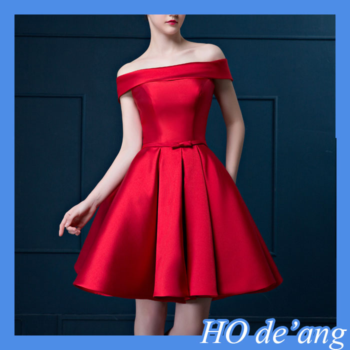 Satin Custom Made Strapless Bow Dresses,Half exposed knee bridesmaid dress,red weeding dress