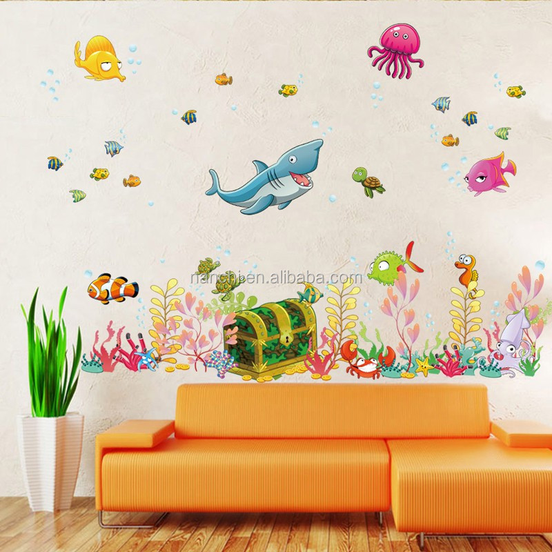 New Cartoon Underwater World Wall Stickers For Kids Baby Room Decorations Diy Removable Wall Decal Boys Girls Room Decor Art Buy Room Decor 3d Wall Stickers Wall Stickers For Bathroom World Map Wall
