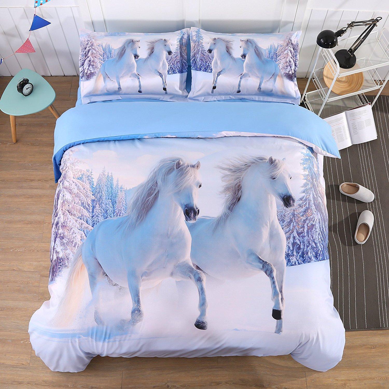 Alicemall 3D Horse Bedding Comforter Set White Snow Horse Digital Printing 5 Pieces Comforter Set Digital Bedding Set, Queen Size (2 Pillowcases, Flat Sheet, Comforter, Duvet Cover) (Queen, White)