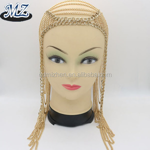 fashion chain mail head cover hair piece jewelry