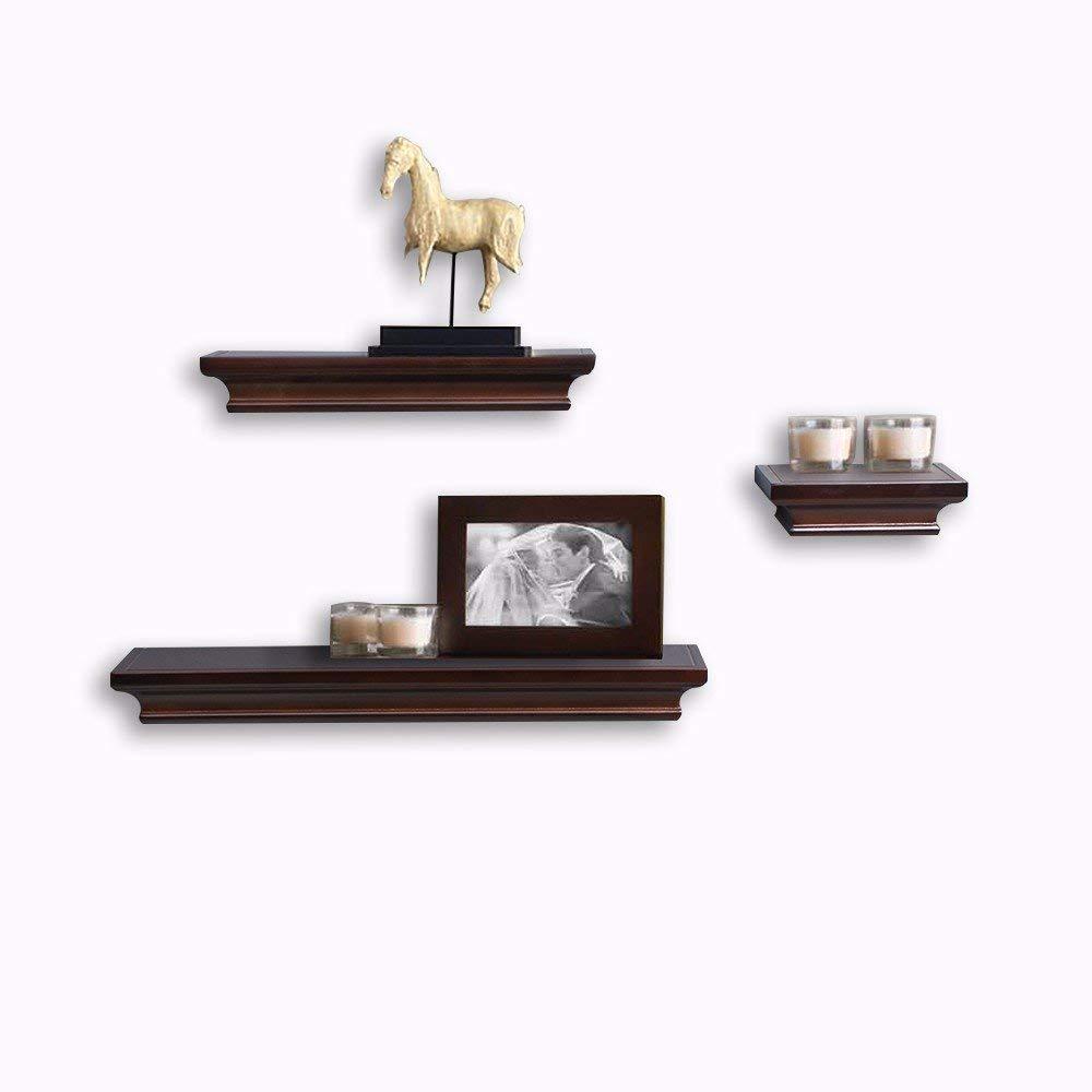 Acando Espresso Wall Shelf Set of 3 PCS (18/12/6 Inch) with Invisible Wall Shelf Bracket, Wooden Ledge Shelves Floating Wall Shelves Wood Shelves Wall Mounted Floating Wall Shelves for Living Room
