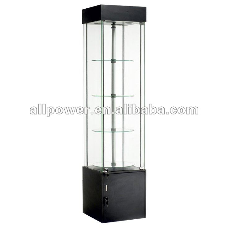 Black Tall Display Cabinet Rotating Layers Locking Eyegl Case Jewelry Cases Motorcycle