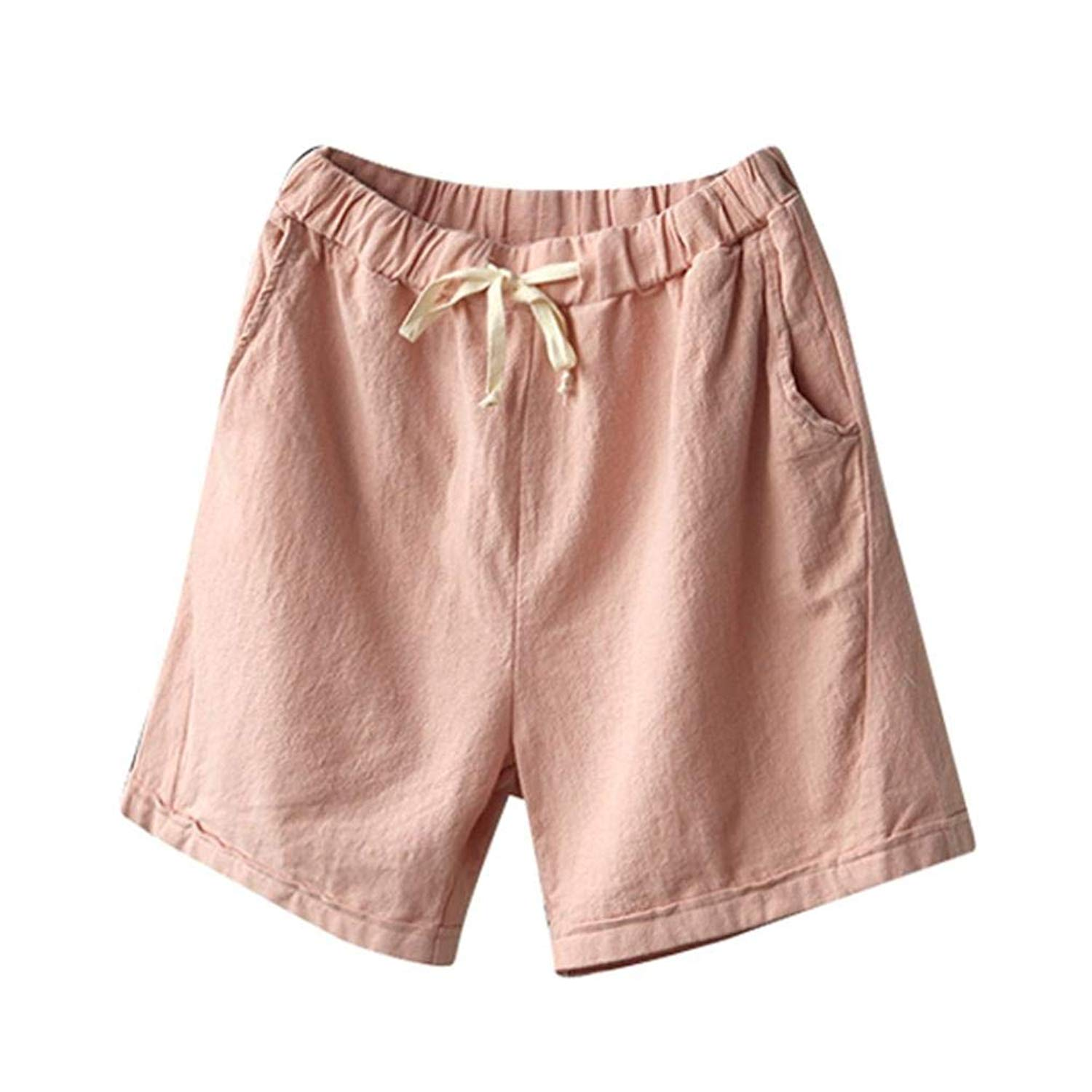 Casual Shorts,Lowprofile Women Casual Cotton Linen Pants Elastic Waist Summer Slim Lady Short Pants Short Trousers