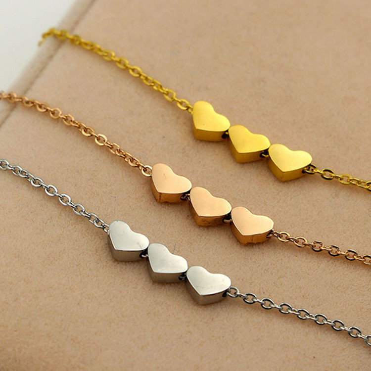 Silver Gold Colorthree Heart Love Necklace Pendant Three Names
