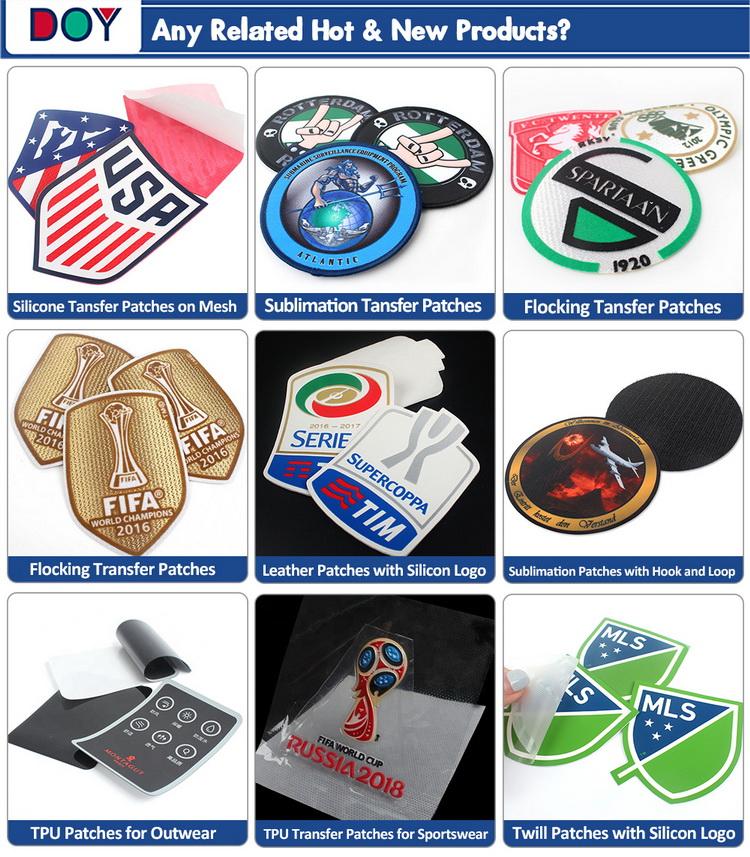 Heat Transfer Printing Merrow Border Custom Cartoon Logo Garment Dye Sublimation Patches for Hat