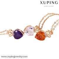 41843 xuping colorful unique necklace jewelry, 18K gold plated necklace, love heart shaped crystal necklace
