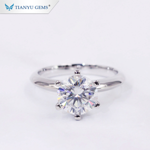Tianyu Gems Customized White Gold 1ct Forever One Diamond Moissanite Female Jewelry Rings