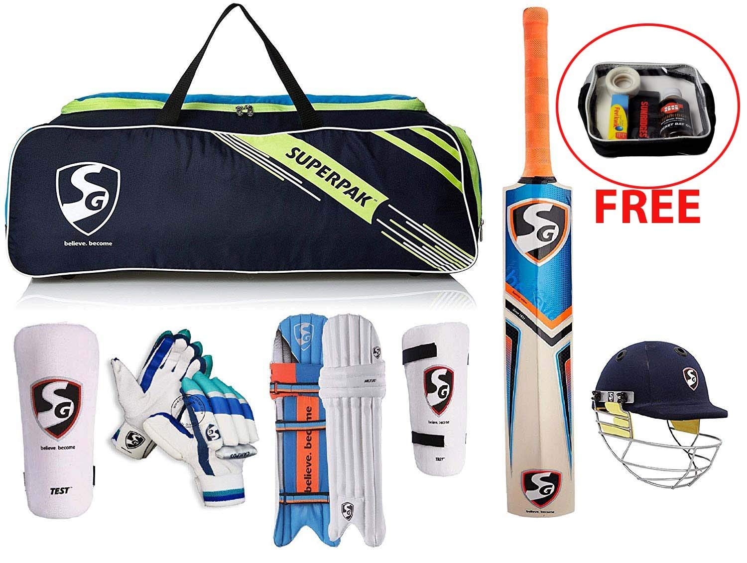 SG Original Brand Premium Cricket Kit with Cricket Bat (with Cover) + Legguard + Batting Gloves + Kitbag + Thigh Guard + Arm Guard + Abdo Guard & Get SS Bat Care Kit Free.