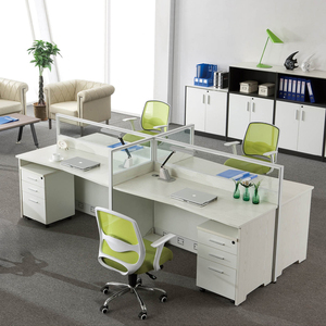 4 Way Desk Workstation Office Long Study Computer Table