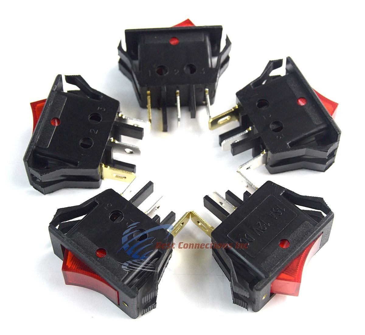 5 pack 12 Volt Lightning RED LED Rocker Mini Switch On Off Car Automotive