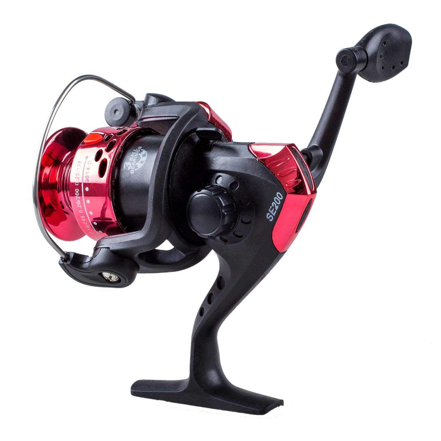 BUYEONLINE 3Bb Ball Bearings Left/Right Interchangeable Collapsible Handle Fishing Spinning Reel Se200 5.2:1 With High-Tensile Gear (Red)