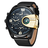 HP 3790 Oulm Brand Man Watch Quartz Sports Men Leather Strap Watches Fashion Military Male Wristwatch Running Cool Clock