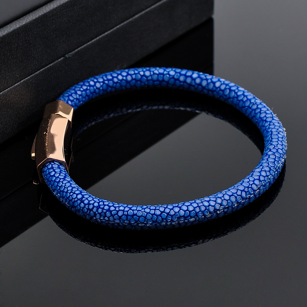 New 2019 Product Idea Stainless Steel Magnetic Clasp Bracelet Stingray Leather