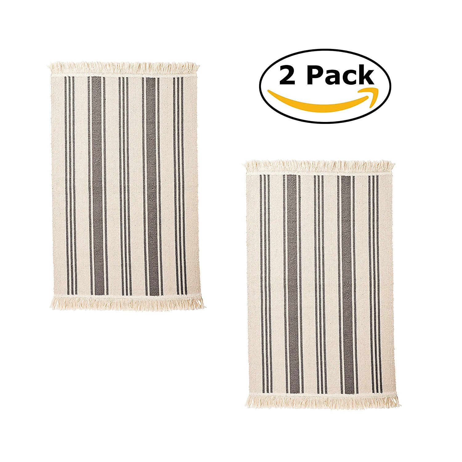 Flatwoven Cotton Area Rug with Color Stripes, Machine Washable for Kitchen Door Mat Runner (2, Gray Stripe)