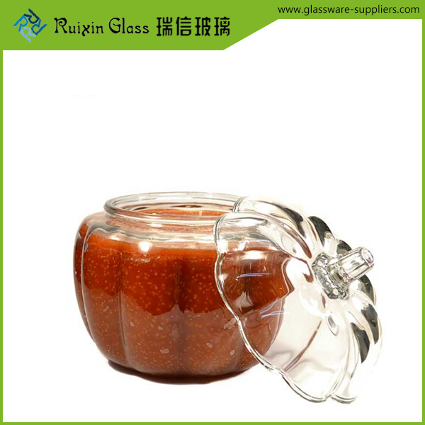 Eco Friendly pumpkin shape glass jar,china glass jar supplier