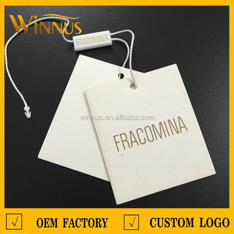 custom own logo printing clothing paper swing tags