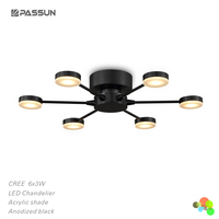 contemporary led acrylic chandelier light 6*3w 6 lights led chandelier