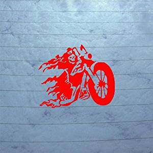 CAR DECAL ART LAPTOP DIE CUT WINDOW DEATH CHOPPER VINYL ADHESIVE VINYL HELMET DECOR RED MOTORCYCLE WALL ART