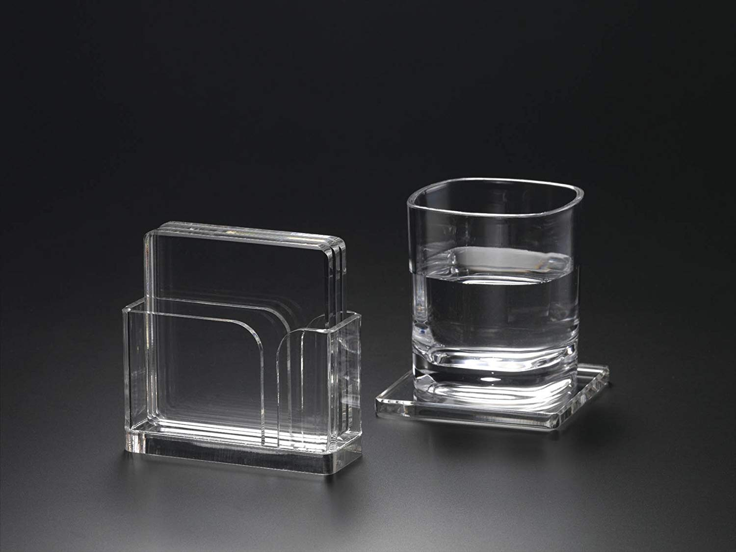 """Set of 4 4"""" Square Acrylic Lucite Coasters with Holder"""