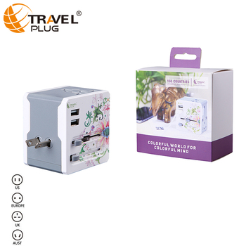 International ce travel adaptor with 2 usb ports non-grounding travel adapter -----A7