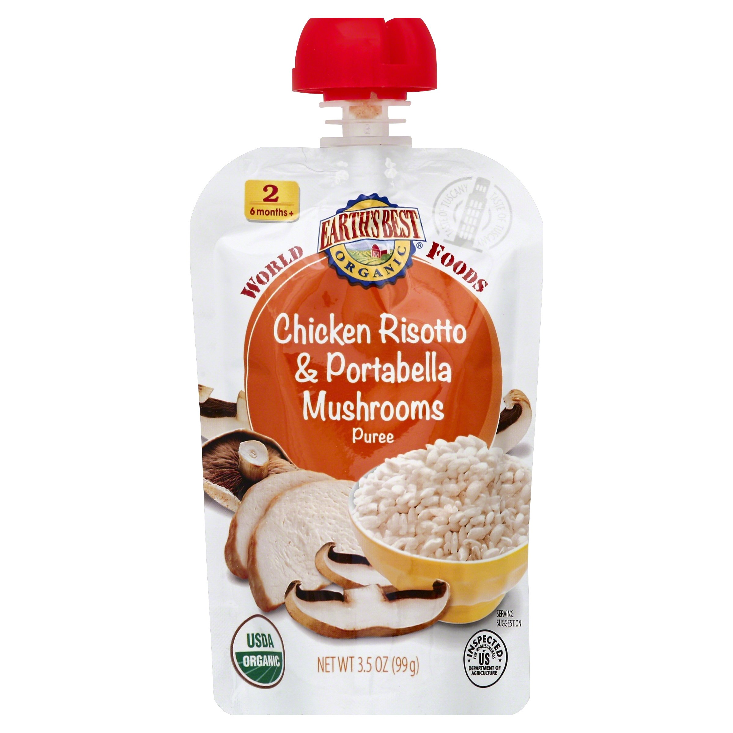 Earth's Best Organic Stage 2, Chicken Risotto & Portabella Mushrooms, 3.5 Ounce Pouch (Pack of 12)