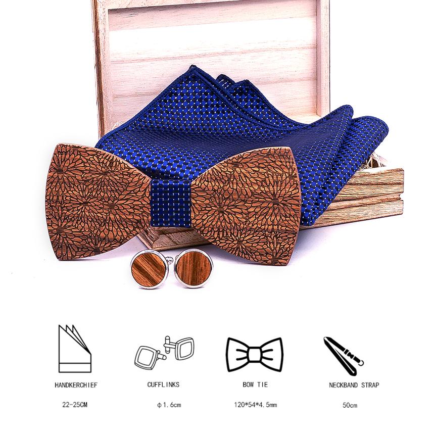 2019 The Latest Design Elegant Wooden Bow Ties Set High Quality Wood Bowtie Handkerchief +Cufflinks Flower Wedding Bow tie