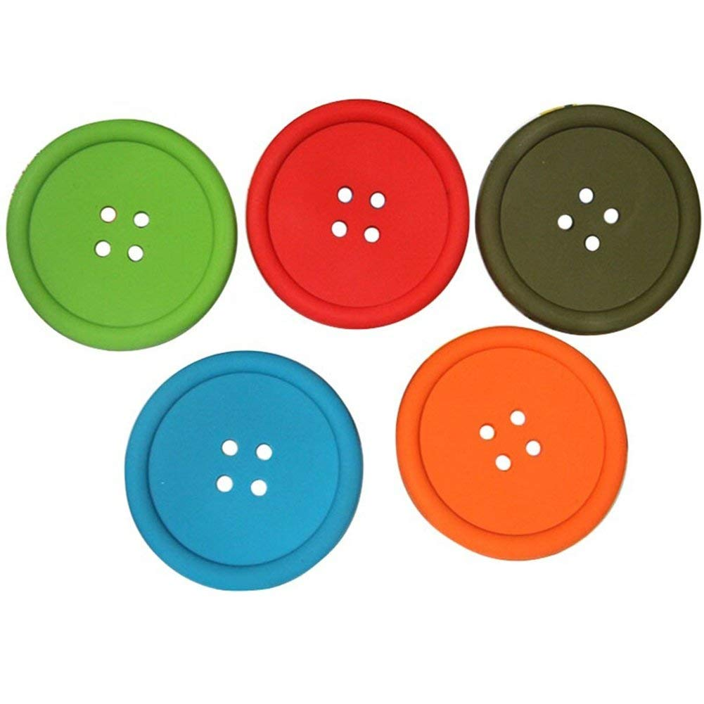 5Pcs Da.Wa Creative Button Shaped Felt Tea Cup Coasters Drink Coasters Car Cup Mat