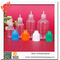 5ml 10ml 15ml 30ml PET plastic dropper e liquid bottles with child proof cap whole sale with low price