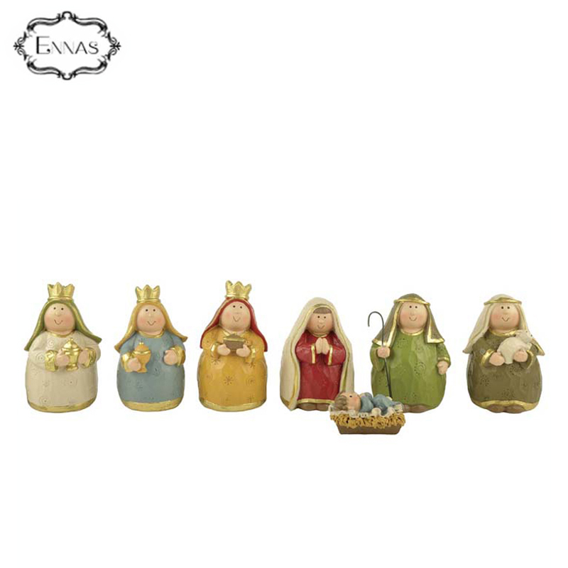 Polyresin antique nativity figurine set with Jesus baby born