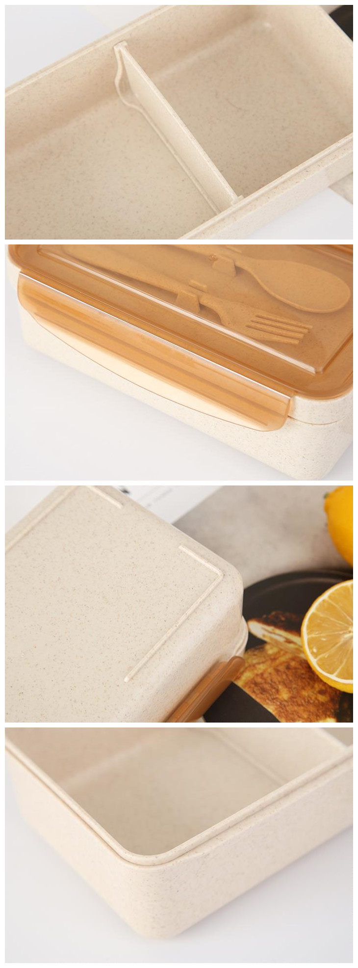 japan style cute custom logo printing wheat straw plastic  lunch box plastic container plastic bento box with spoon