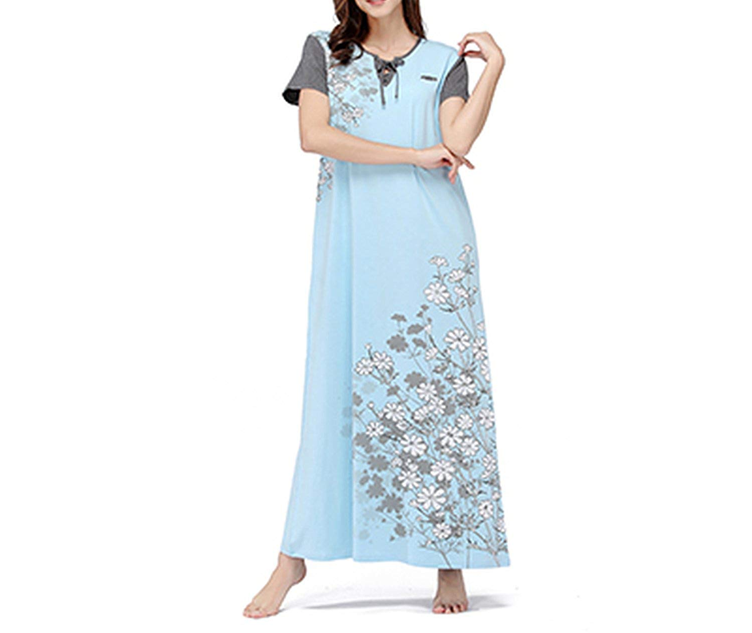 Memoriesed Nightgowns Women Nightgown Long Cotton Plus Size V-Neck Short  Sleeve Floral Print 81dcb7380