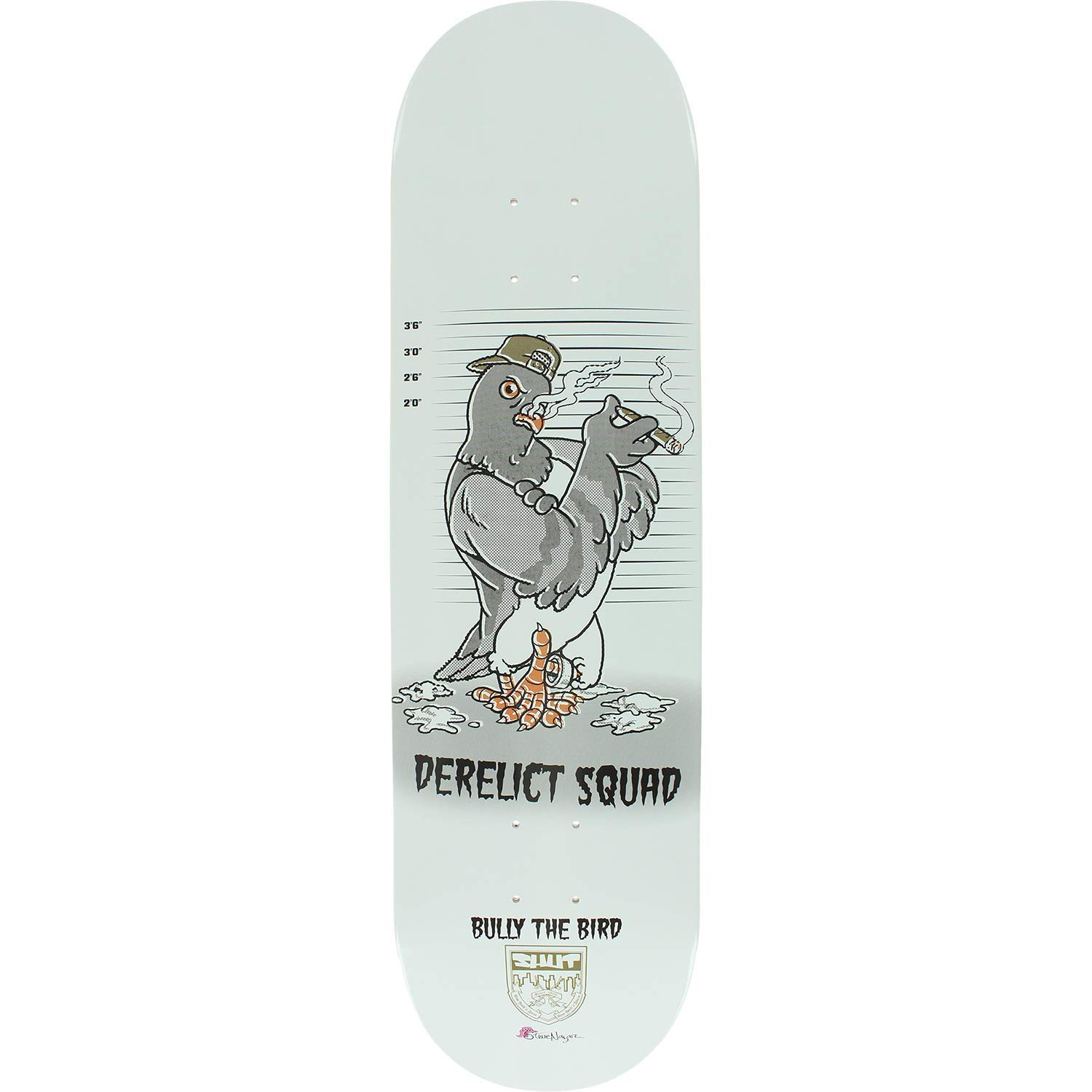 "Shut Skateboards Steve Nazar Bully The Bird Skateboard Deck - 8.5"" x 32"""