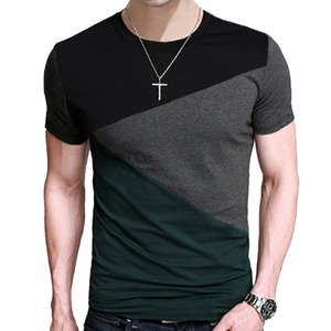 Brand 2018 Male Short Sleeve T Shirt O-Neck Men T-Shirt Hip-Hop Simple Splicing Tee Tops Shirt