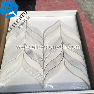 Natural Leaf Carrara Snow and White Glass Mosaic For Bathroom Wall And Kitchen Backsplash