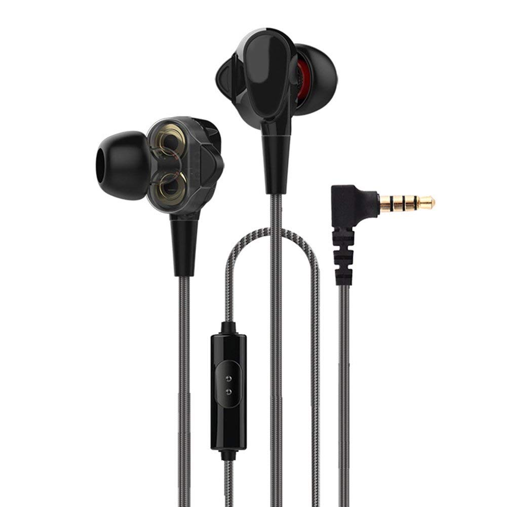 Jytrading Advanced Wire Headset, Professional Dual Drive 4-Speakers In-Ear Stereo Sound Earphone Headset Earbuds